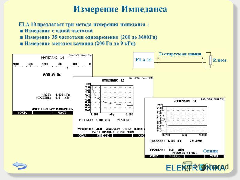 Измерение Импеданса ELA 10 предлагает три метода измерения импеданса : Измерение с одной частотой Измерение с одной частотой Измерение 35 частотами одновременно (200 до 3600Гц) Измерение 35 частотами одновременно (200 до 3600Гц) Измерение методом кач