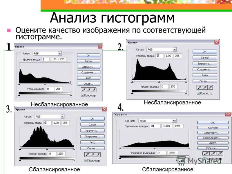 Анализ гистограмм Оцените качество изображения по соответствующей гистограмме. Несбалансированное Сбалансированное