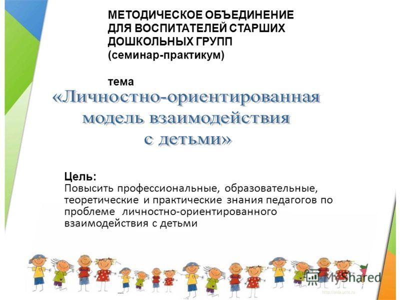 Цель: Повысить профессиональные, образовательные, теоретические и практические знания педагогов по проблеме личностно-ориентированного взаимодействия с детьми МЕТОДИЧЕСКОЕ ОБЪЕДИНЕНИЕ ДЛЯ ВОСПИТАТЕЛЕЙ СТАРШИХ ДОШКОЛЬНЫХ ГРУПП (семинар-практикум) тема
