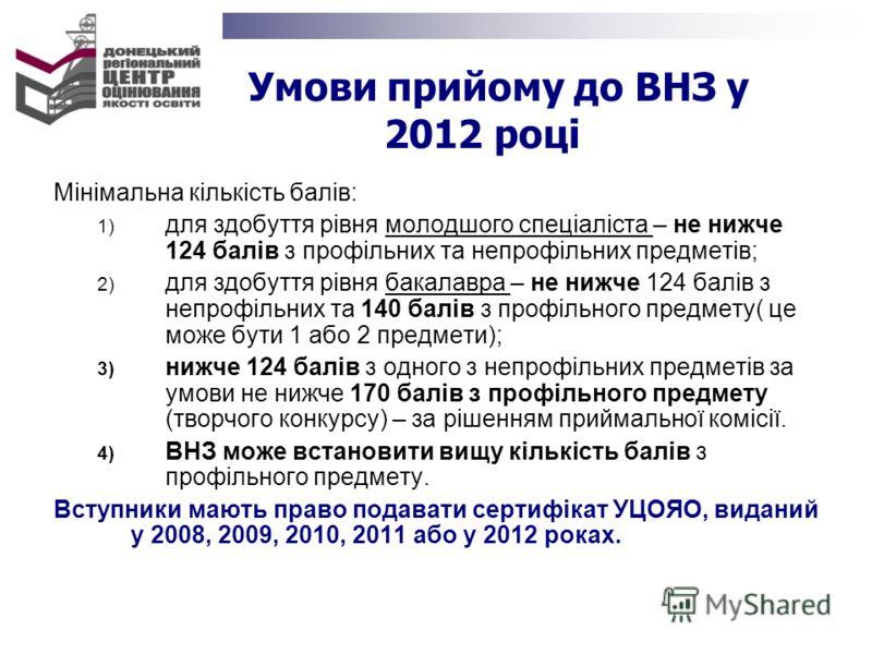 Умови прийому до ВНЗ у 2012 році Мінімальна кількість балів: 1) для здобуття рівня молодшого спеціаліста – не нижче 124 балів з профільних та непрофільних предметів; 2) для здобуття рівня бакалавра – не нижче 124 балів з непрофільних та 140 балів з п
