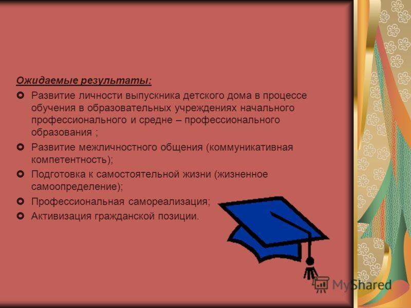 Ожидаемые результаты: Развитие личности выпускника детского дома в процессе обучения в образовательных учреждениях начального профессионального и средне – профессионального образования ; Развитие межличностного общения (коммуникативная компетентность