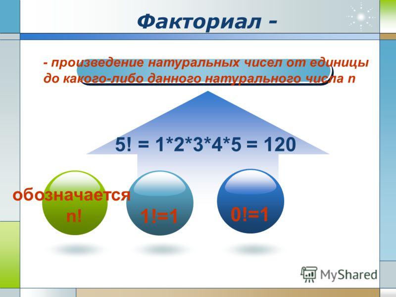 Факториал - 1!=1 0!=1 - произведение натуральных чисел от единицы до какого-либо данного натурального числа n обозначается n! 5! = 1*2*3*4*5 = 120