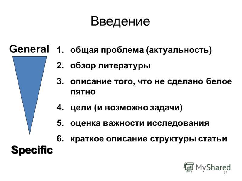 Введение 13 Specific 1.общая проблема (актуальность) 2.обзор литературы 3.описание того, что не сделано белое пятно 4.цели (и возможно задачи) 5.оценка важности исследования 6.краткое описание структуры статьи General