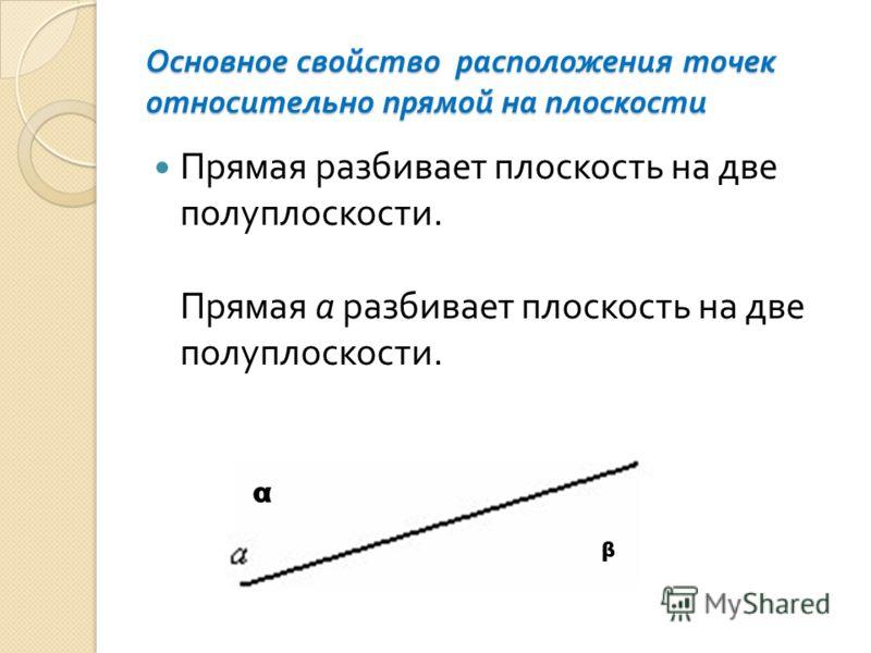 Основное свойство расположения точек относительно прямой на плоскости Прямая разбивает плоскость на две полуплоскости. Прямая a разбивает плоскость на две полуплоскости. α β