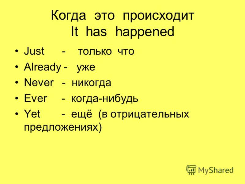 Когда это происходит It has happened Just - только что Already - уже Never - никогда Ever - когда-нибудь Yet - ещё (в отрицательных предложениях)