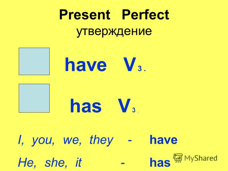 Present Perfect утверждение have V 3. has V 3. I, you, we, they - have He, she, it - has
