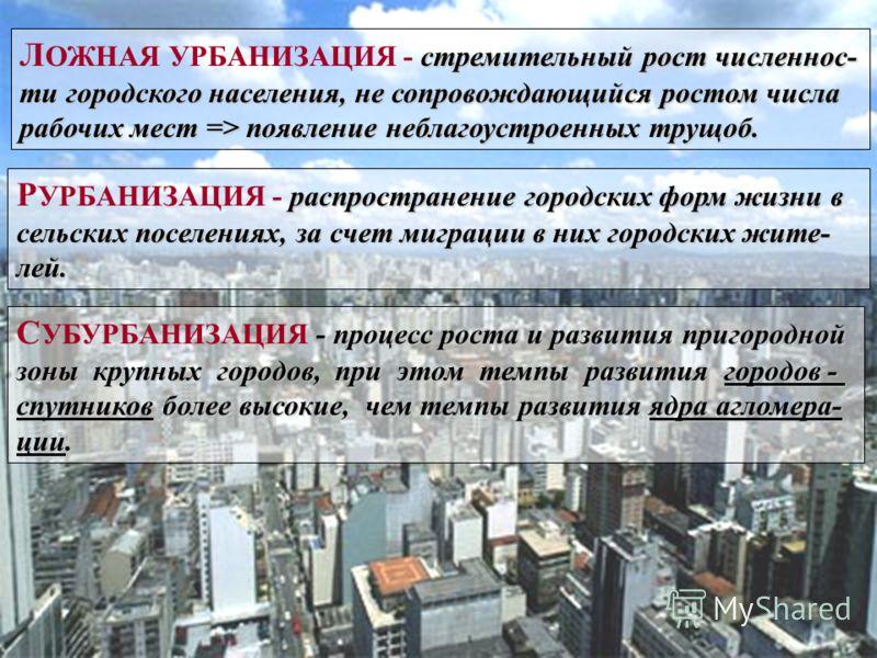 стремительный рост численнос- Л ОЖНАЯ УРБАНИЗАЦИЯ - стремительный рост численнос- ти городского населения, не сопровождающийся ростом числа ти городского населения, не сопровождающийся ростом числа рабочих мест => появление неблагоустроенных трущоб.