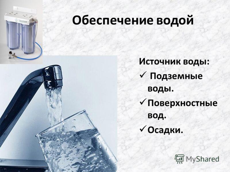 Обеспечение водой Источник воды: Подземные воды. Поверхностные вод. Осадки.