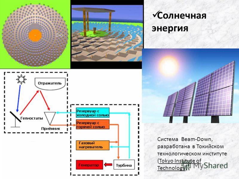 Система Beam-Down, разработана в Токийском технологическом институте (Tokyo Institute of Technology) Солнечная энергия