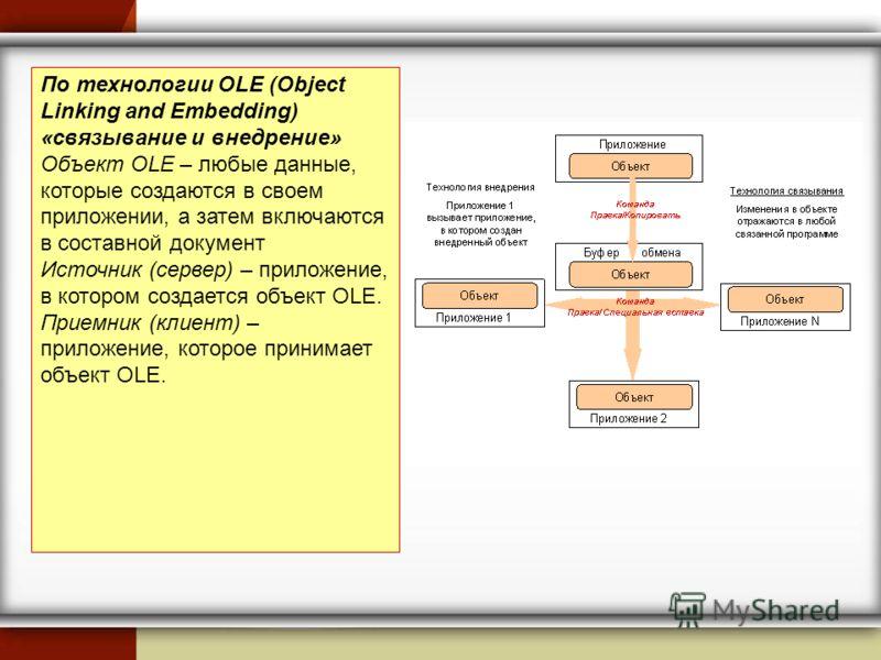 По технологии OLE (Object Linking and Embedding) «связывание и внедрение» Объект OLE – любые данные, которые создаются в своем приложении, а затем включаются в составной документ Источник (сервер) – приложение, в котором создается объект OLE. Приемни