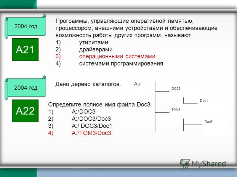 2004 год А21 Программы, управляющие оперативной памятью, процессором, внешними устройствами и обеспечивающие возможность работы других программ, называют 1)утилитами 2)драйверами 3)операционными системами 4)системами программирования DOC3 Doc1 TOM3 D