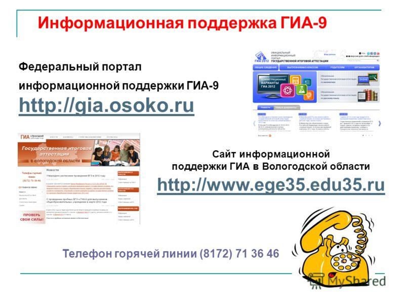 Информационная поддержка ГИА-9 Федеральный портал информационной поддержки ГИА-9 http://gia.osoko.ru Телефон горячей линии (8172) 71 36 46 Сайт информационной поддержки ГИА в Вологодской области http://www.ege35.edu35.ru