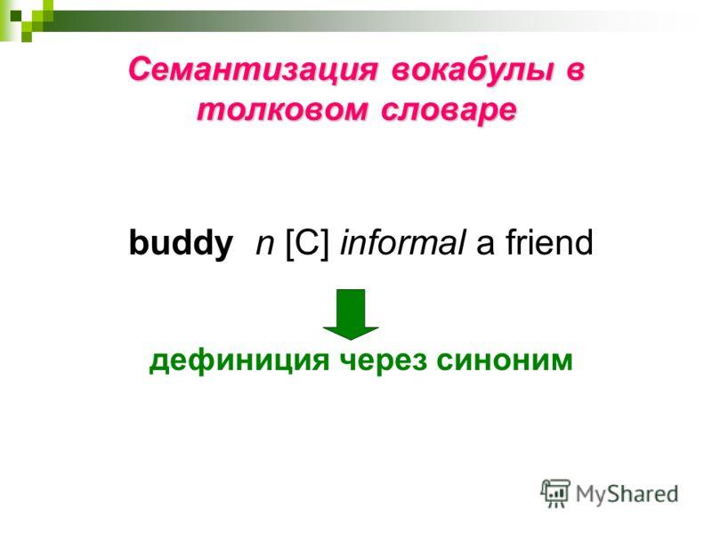 Семантизация вокабулы в толковом словаре buddy n [С] informal a friend дефиниция через синоним
