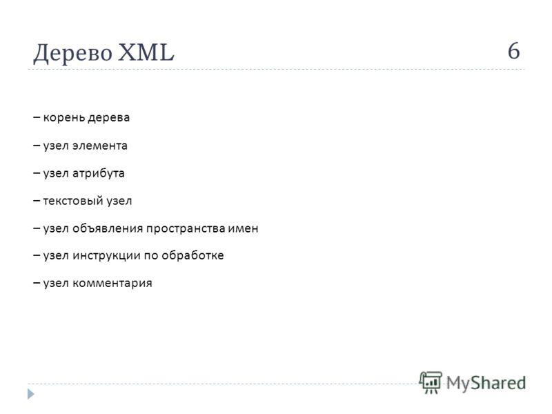 Дерево XML 6 – корень дерева – узел элемента – узел атрибута – текстовый узел – узел объявления пространства имен – узел инструкции по обработке – узел комментария