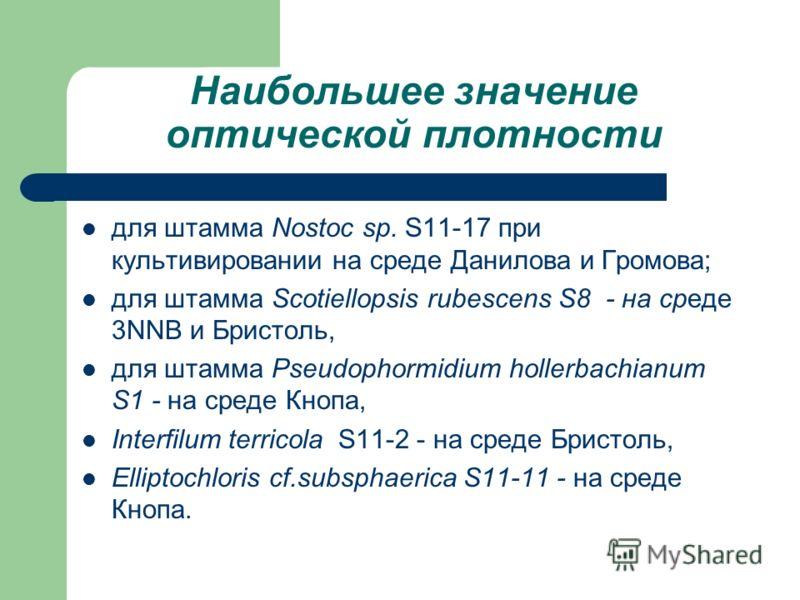 Наибольшее значение оптической плотности для штамма Nostoc sp. S11-17 при культивировании на среде Данилова и Громова; для штамма Scotiellopsis rubescens S8 - на среде 3NNB и Бристоль, для штамма Pseudophormidium hollerbachianum S1 - на среде Кнопа,