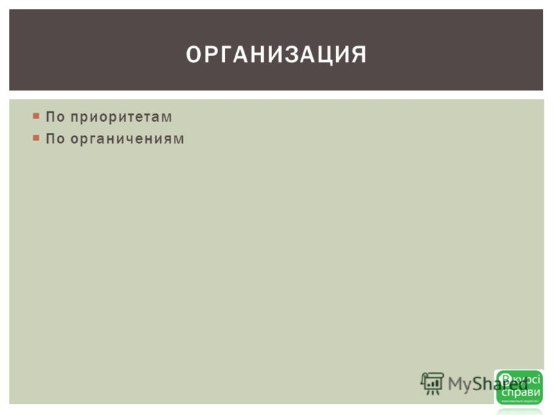 По приоритетам По органичениям ОРГАНИЗАЦИЯ