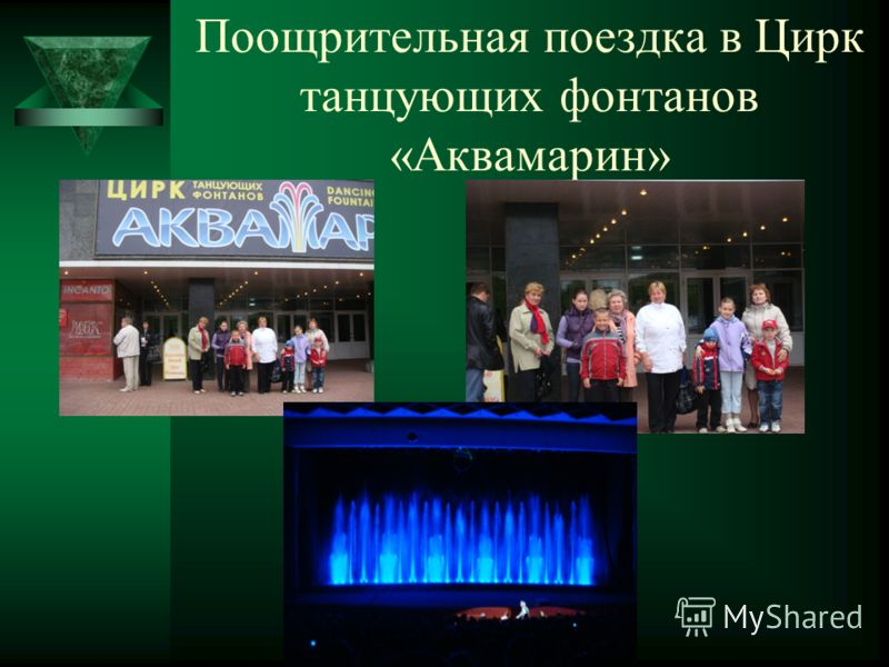 Поощрительная поездка в Цирк танцующих фонтанов «Аквамарин»
