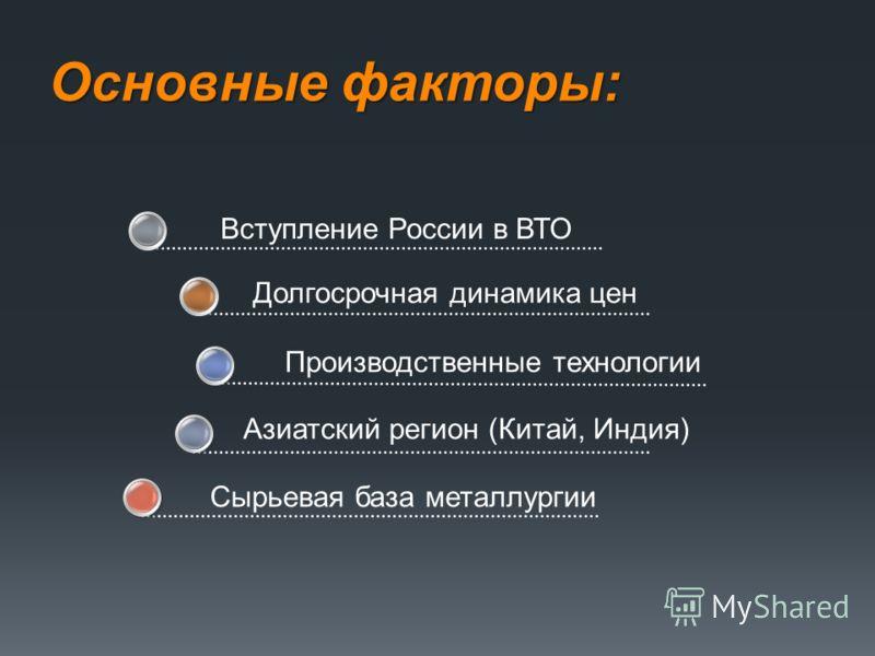 Основные факторы: Сырьевая база металлургии Вступление России в ВТО Долгосрочная динамика цен Производственные технологии Азиатский регион (Китай, Индия)