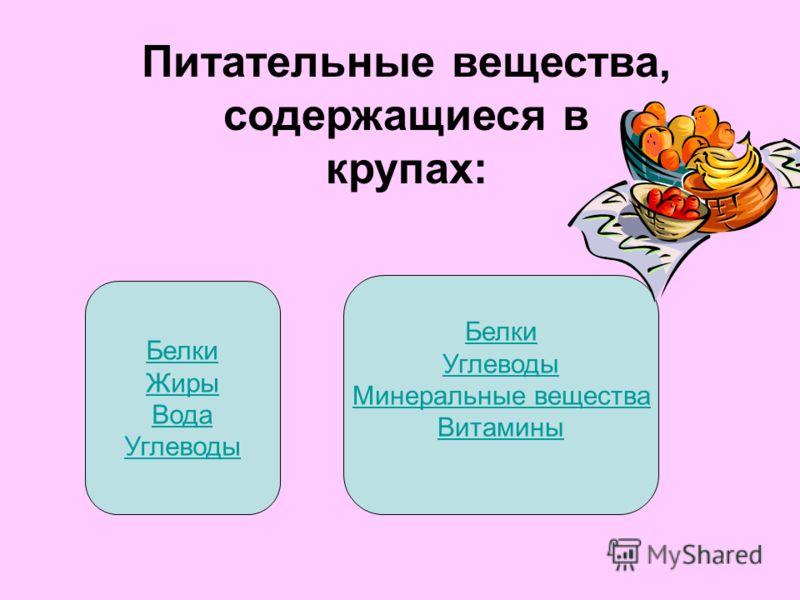 Питательные вещества, содержащиеся в крупах: Белки Жиры Вода Углеводы Белки Углеводы Минеральные вещества Витамины
