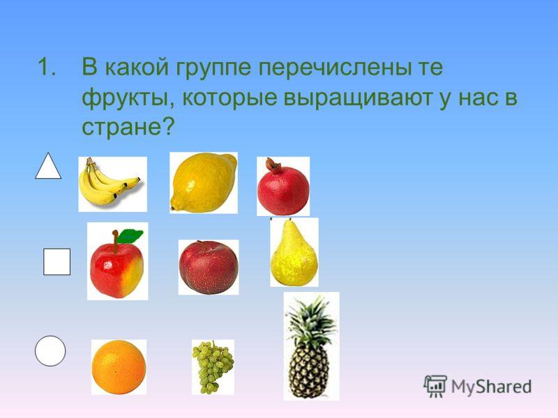 1.В какой группе перечислены те фрукты, которые выращивают у нас в стране?
