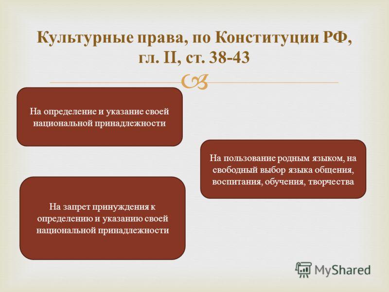 Культурные права, по Конституции РФ, гл. II, ст. 38-43 На определение и указание своей национальной принадлежности На пользование родным языком, на свободный выбор языка общения, воспитания, обучения, творчества На запрет принуждения к определению и