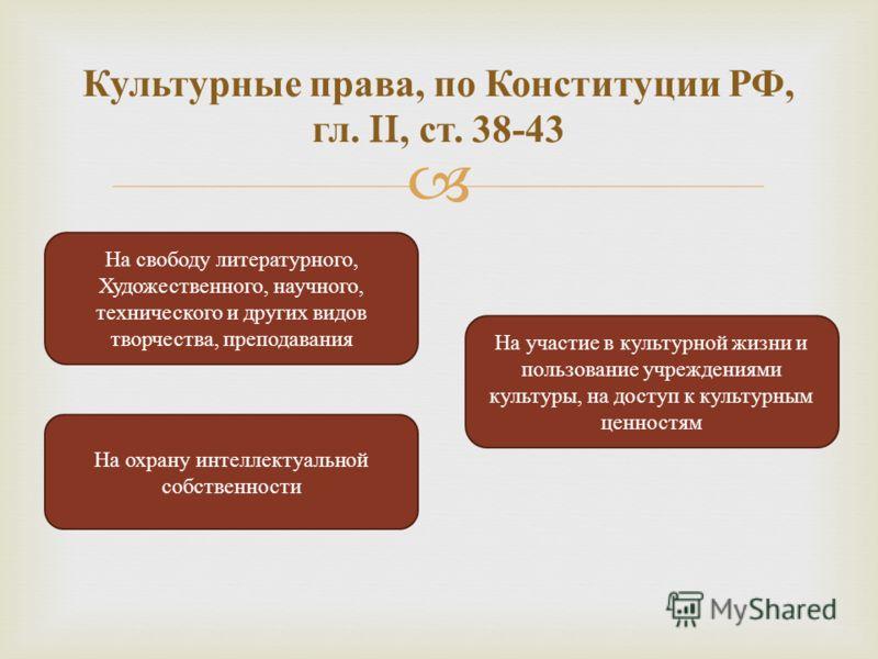Культурные права, по Конституции РФ, гл. II, ст. 38-43 На свободу литературного, Художественного, научного, технического и других видов творчества, преподавания На участие в культурной жизни и пользование учреждениями культуры, на доступ к культурным