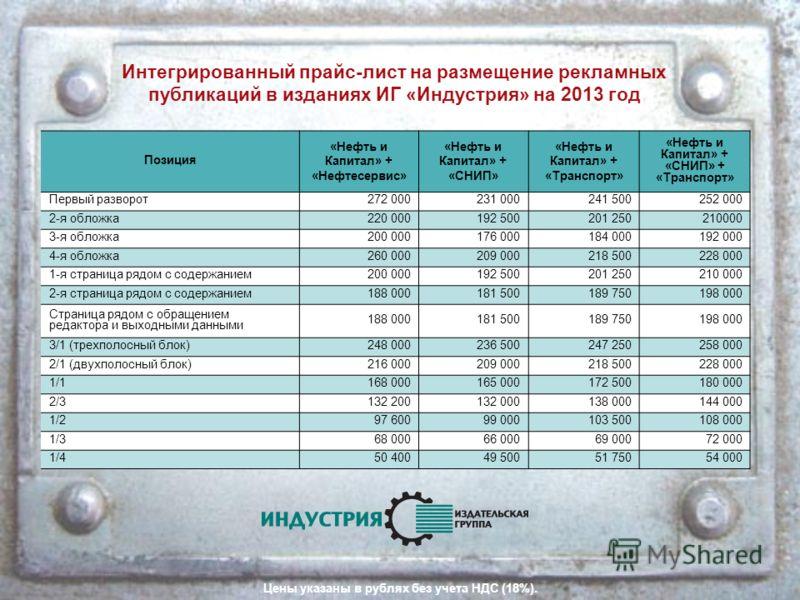 Интегрированный прайс-лист на размещение рекламных публикаций в изданиях ИГ «Индустрия» на 2013 год Позиция «Нефть и Капитал» + «Нефтесервис» «Нефть и Капитал» + «СНИП» «Нефть и Капитал» + «Транспорт» «Нефть и Капитал» + «СНИП» + «Транспорт» Первый р