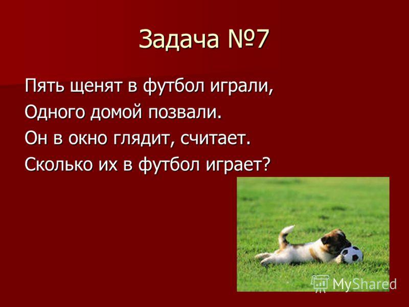 Задача 7 Пять щенят в футбол играли, Одного домой позвали. Он в окно глядит, считает. Сколько их в футбол играет?