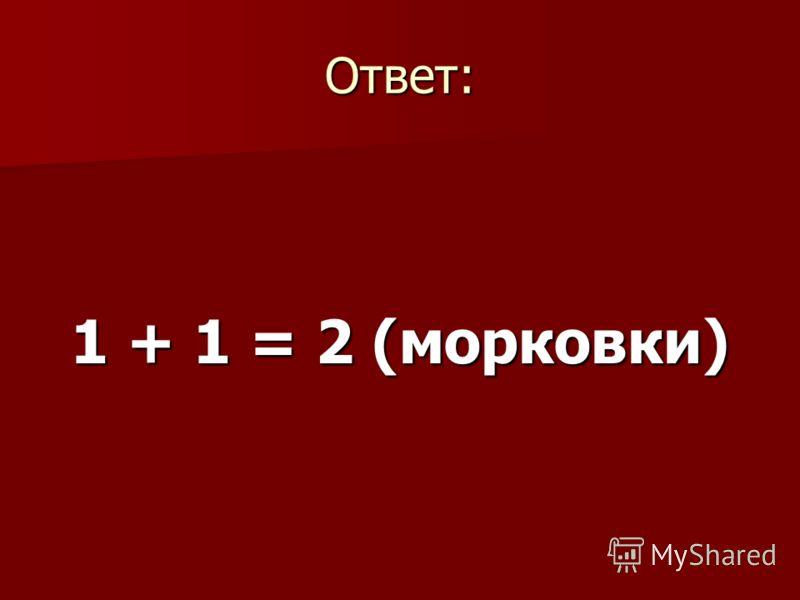 Ответ: 1 + 1 = 2 (морковки)
