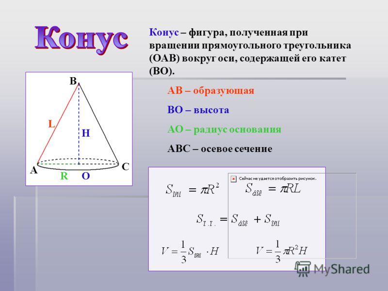 A B C AB – образующая BO – высота АО – радиус основания ABC – осевое сечение H R L O Конус – фигура, полученная при вращении прямоугольного треугольника (ОАВ) вокруг оси, содержащей его катет (ВО).