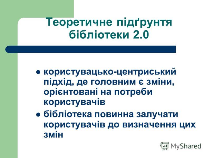 Теоретичне підґрунтя бібліотеки 2.0 користувацько-центриcький підхід, де головним є зміни, орієнтовані на потреби користувачів бібліотека повинна залучати користувачів до визначення цих змін