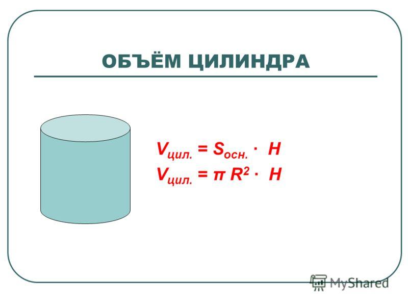V цил. = S осн. · H V цил. = π R 2 · H