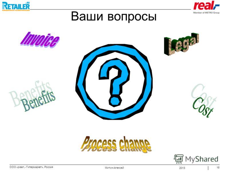 2013 Митин Алексей ООО «реал,- Гипермаркет», Россия 18 Ваши вопросы