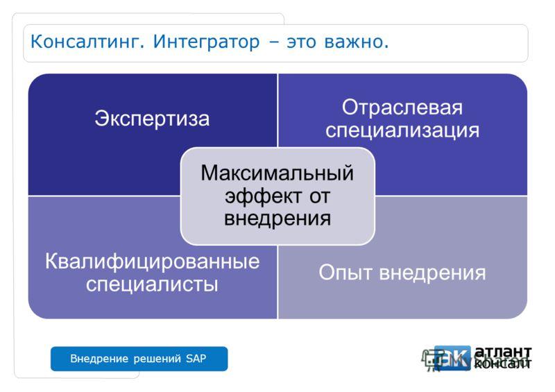 Внедрение решений SAP Консалтинг. Интегратор – это важно. Экспертиза Отраслевая специализация Квалифицированные специалисты Опыт внедрения Максимальный эффект от внедрения