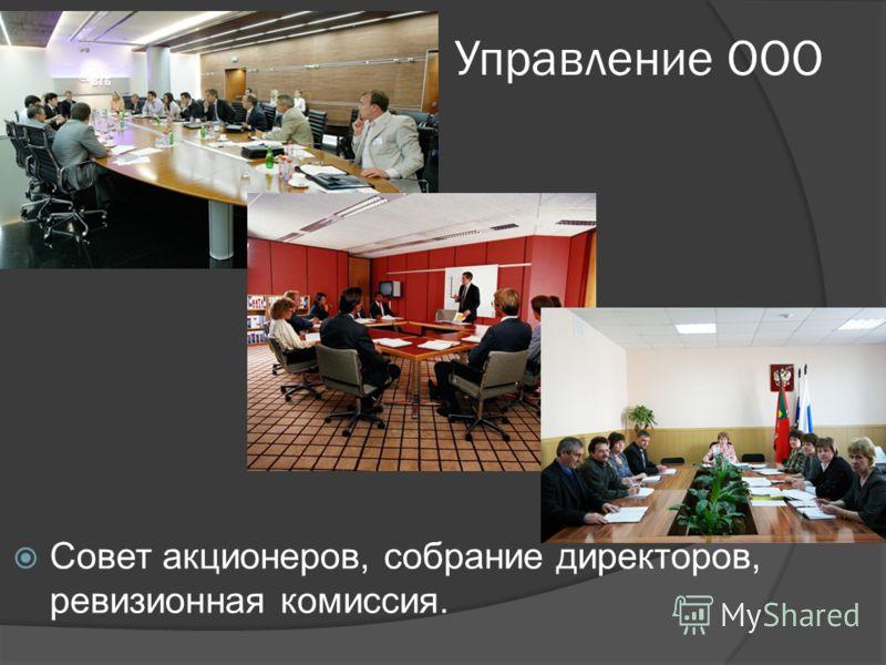 Управление ООО Совет акционеров, собрание директоров, ревизионная комиссия.