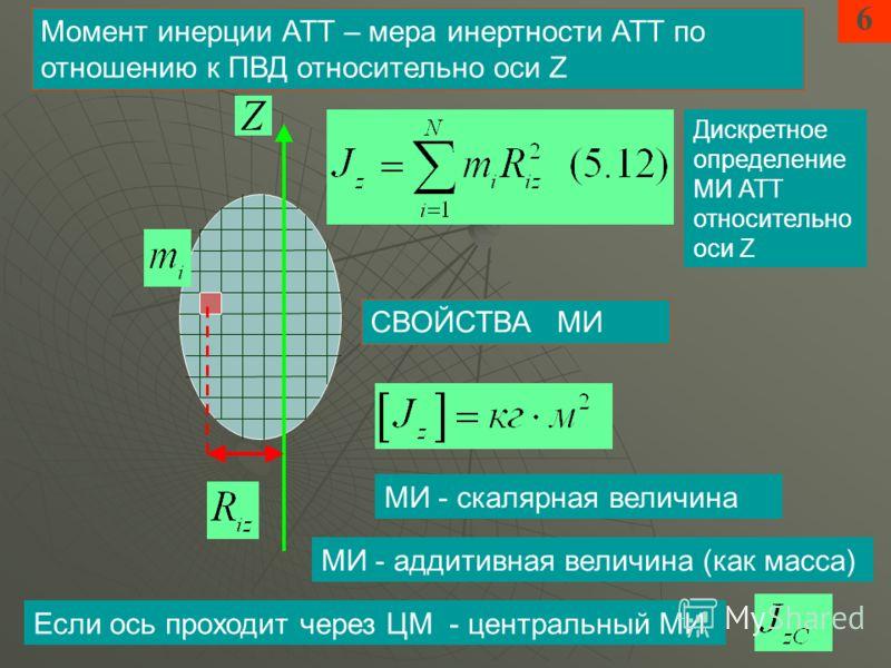 6 Момент инерции АТТ – мера инертности АТТ по отношению к ПВД относительно оси Z МИ - скалярная величина Дискретное определение МИ АТТ относительно оси Z МИ - аддитивная величина (как масса) Если ось проходит через ЦМ - центральный МИ СВОЙСТВА МИ