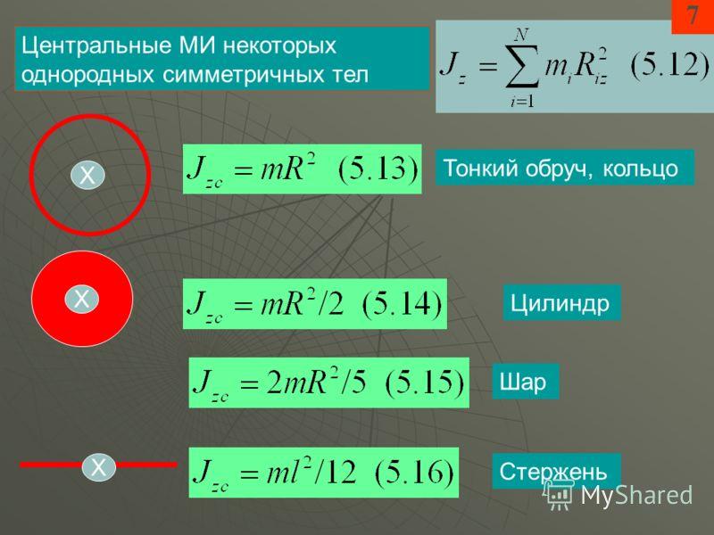 7 Центральные МИ некоторых однородных симметричных тел Тонкий обруч, кольцо Цилиндр Шар Стержень Х Х Х