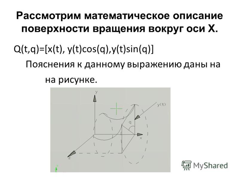 Рассмотрим математическое описание поверхности вращения вокруг оси X. Q(t,q)=[x(t), y(t)cos(q),y(t)sin(q)] Пояснения к данному выражению даны на на рисунке.