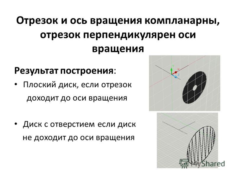 Отрезок и ось вращения компланарны, отрезок перпендикулярен оси вращения Результат построения: Плоский диск, если отрезок доходит до оси вращения Диск с отверстием если диск не доходит до оси вращения