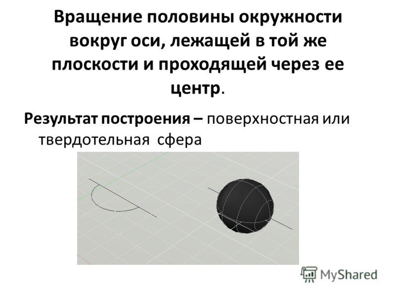 Вращение половины окружности вокруг оси, лежащей в той же плоскости и проходящей через ее центр. Результат построения – поверхностная или твердотельная сфера
