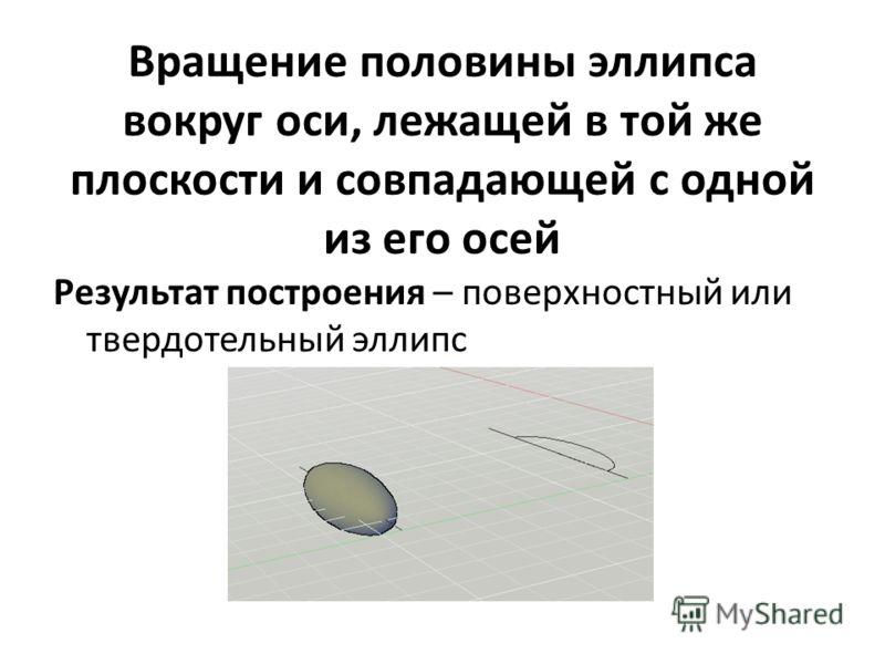 Вращение половины эллипса вокруг оси, лежащей в той же плоскости и совпадающей с одной из его осей Результат построения – поверхностный или твердотельный эллипс