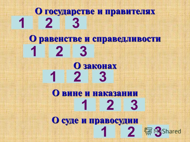 О государстве и правителях О равенстве и справедливости О законах О вине и наказании О суде и правосудии 123 123 12 32 321 3 1