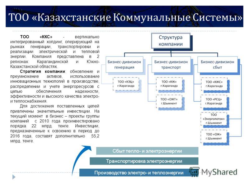 ТОО « Казахстанские Коммунальные Системы » ТОО «ККС» - вертикально интегрированный холдинг, оперирующий на рынках генерации, транспортировки и реализации электрической и тепловой энергии. Компания представлена в 2 регионах: Карагандинской и Южно- Каз
