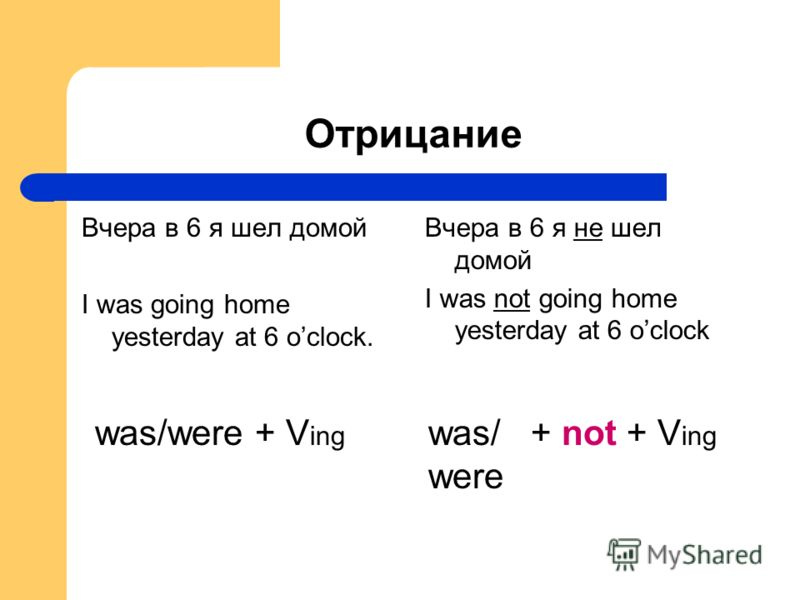 Отрицание Вчера в 6 я шел домой I was going home yesterday at 6 oclock. Вчера в 6 я не шел домой I was not going home yesterday at 6 oclock was/were + V ing was/ + not + V ing were