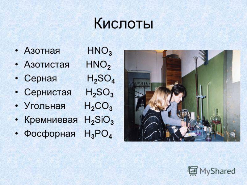 Кислоты Азотная HNO 3 Азотистая HNO 2 Серная H 2 SO 4 Сернистая H 2 SO 3 Угольная H 2 CO 3 Кремниевая H 2 SiO 3 Фосфорная H 3 PO 4