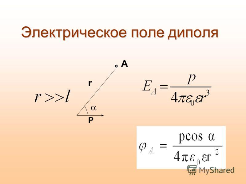Электрическое поле диполя А Р r