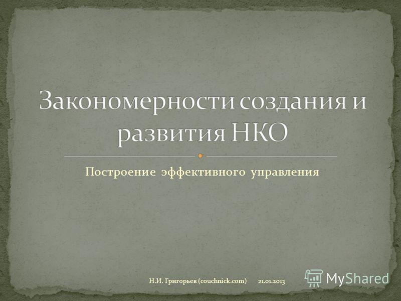 Построение эффективного управления 21.01.2013Н.И. Григорьев (couchnick.com)