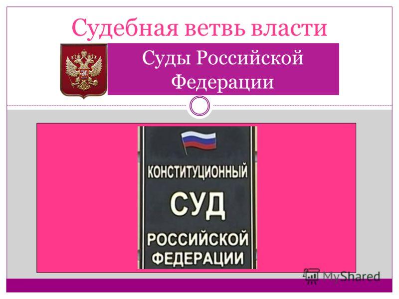 Судебная ветвь власти Суды Российской Федерации