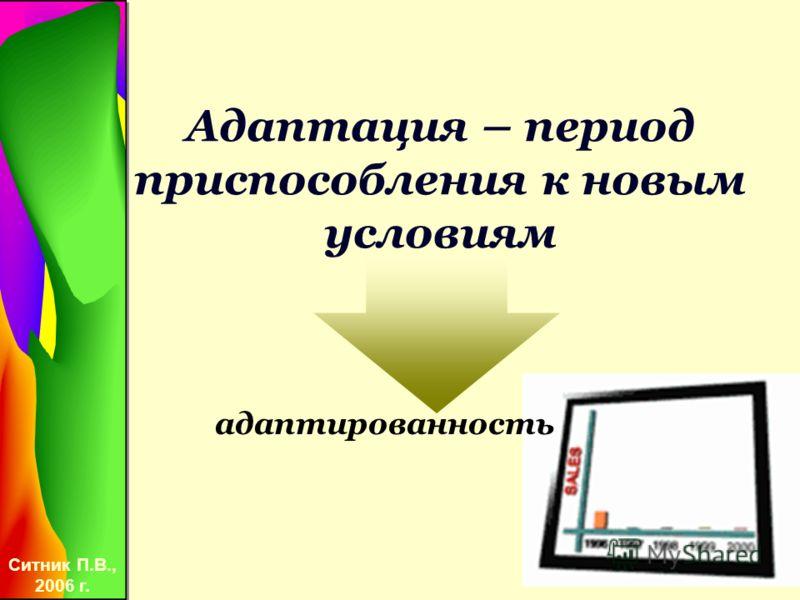 Ситник П.В., 2006 г. Адаптация – период приспособления к новым условиям адаптированность