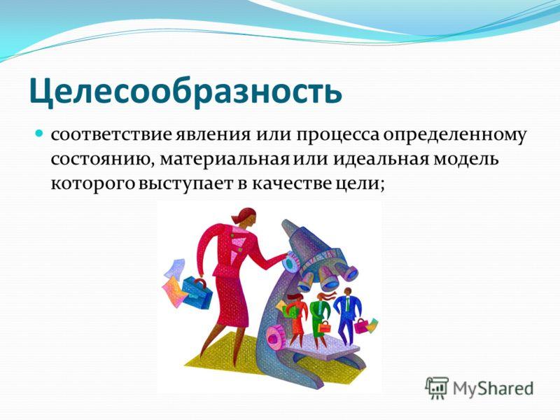 Целесообразность соответствие явления или процесса определенному состоянию, материальная или идеальная модель которого выступает в качестве цели;